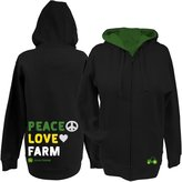 John Deere Peace Love Farm Ladies Zippered Hoodie