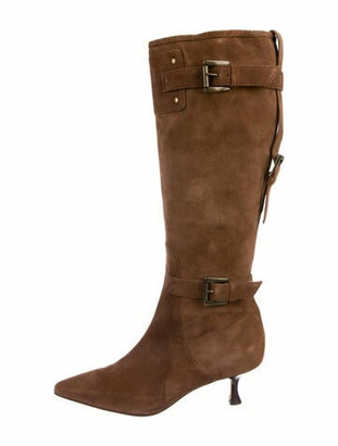Manolo Blahnik Suede Pointed-Toe Boots Brown
