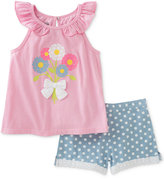 Kids Headquarters 2-Pc. Flowers Top & Dot-Print Denim Shorts Set, Baby Girls (0-24 months)