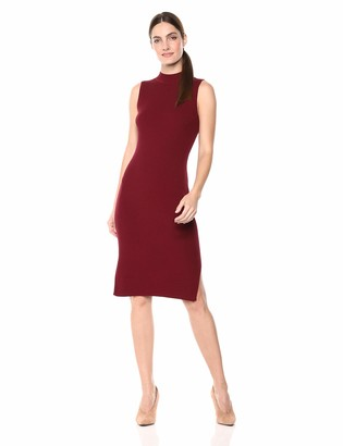 Lark & Ro Women's Sleeveless Ribbed Sheath Sweater Dress with Funnel Neck