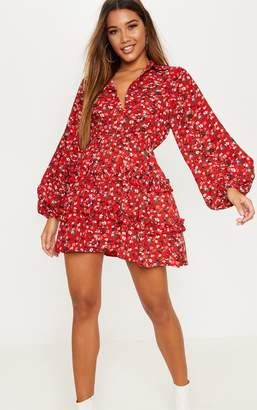 PrettyLittleThing Red Floral Printed Frill Skater Shirt Dress