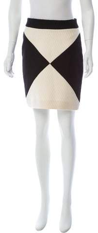 Milly Two-Tone Wool Skirt