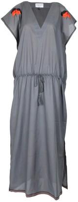 Maraina London Margaux Grey Drawstring Kaftan Dress With With Handmade Embroidery