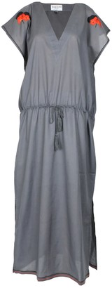 Margaux Grey Drawstring Kaftan Dress With With Handmade Embroidery