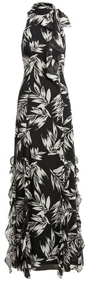 Ralph Lauren Print Georgette Halter Gown