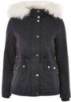 Topshop Women's Evie Faux Fur Hood Parka