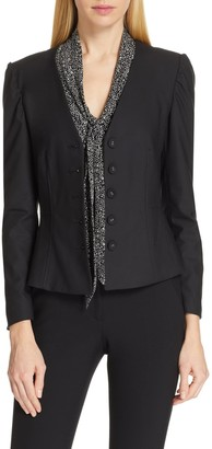 Tailored by Rebecca Taylor Clean Collarless Suiting Blazer