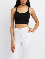 Charlotte Russe Strappy Caged-Back Crop Top