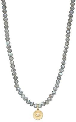 Sydney Evan 14K Yellow Gold, Labradorite & Diamond Evil Eye Charm Beaded Necklace