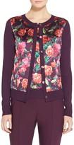 St. John Pink Roses Knit Cardigan