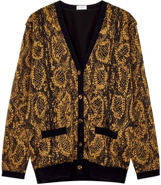 Saint Laurent Brown snake-intarsia knitted cardigan