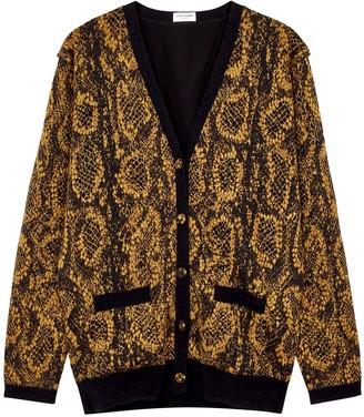 Saint Laurent Brown Snake-intarsia Knitted Cardigan