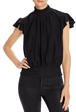 Frame Ruffled Smocked Silk Top
