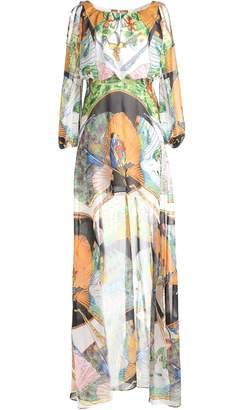 Couture Comino London Orange Peacock Fantasy Dip Hem Dress