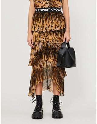 Selfridges Tiger print chiffon midi skirt