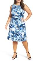 Eliza J Plus Size Women's Tropical Print A-Line Dress