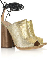 Metallic lizard ankle-wrap mules