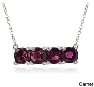 Glitzy Rocks Sterling Silver Gemstone Bar Necklace