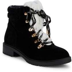 Lexi And Abbie Hally Lace Up Faux Fur Trimmed Boots
