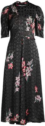 Rebecca Taylor Noha Puff Sleeve Floral Midi Dress