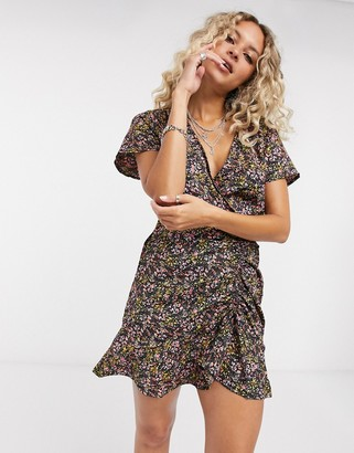 Only mini dress with ruched front in floral print