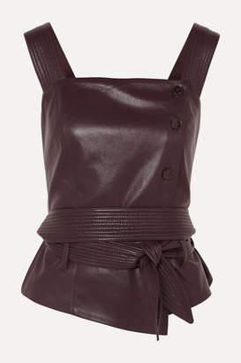 Nanushka Asya Belted Vegan Leather Top - Merlot