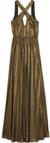 Halston Cutout Pleated Lamé Gown - Bronze