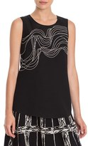 Nic+Zoe Women's 'Urbanite' Embroidered Sleeveless Blouse