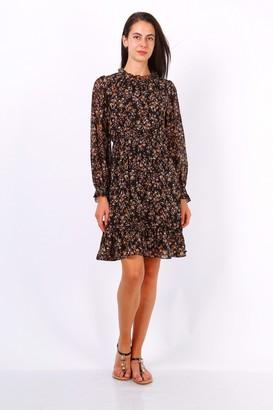 Lilura London Black Ditsy Floral Long Sleeve Frill Hem Dress