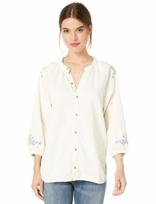 Lucky Brand Women's Peasant Shirt with Embroidery