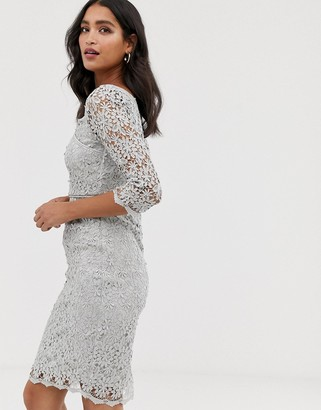 Paper Dolls metallic lace fitted three quarter sleeve pencil dress-Grey