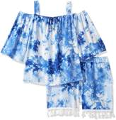 My Michelle Big Girls' Printed Two Piece Set with Cold Shoulder and Tassel Trim