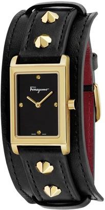 Salvatore Ferragamo Women's Fiore Studs Leather Watch, 34mm x 20mm