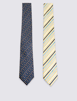 M&S Collection 2 Pack Spotted & Striped Ties
