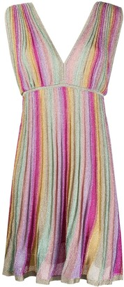 M Missoni Pleated Striped Metallic Dress