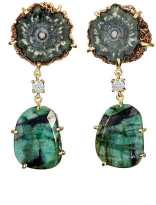 Jan Leslie 18k Bespoke 2-Tier Tribal Luxury Earrings w/ Brown Stalactite, Faceted Emerald & Diamonds