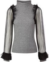 Aviu Grey Ribbed Polo Sheer Sleeve Jumper