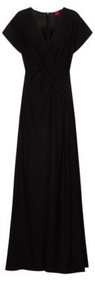 HUGO BOSS Crepe Maxi Dress With Knotted Front - Black