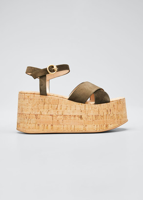 Gianvito Rossi 20mm Cork Flatform with Suede Sandals