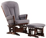 Dutailier Multi-position Coffee/ Dark Grey Reclining 2-post Glider and Ottoman Set