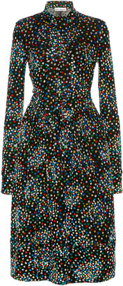 Paco Rabanne Dotted Fil Coupe Tie-Neck Dress