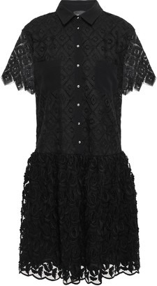 Just Cavalli Crochet And Fil Coupe Chiffon Mini Dress
