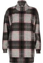 River Island Womens Pink check oversized turtleneck top