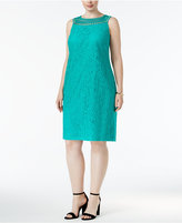 Jessica Howard Plus Size Open-Weave Lace Shift Dress