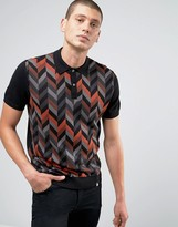 Pretty Green Knitted Polo With Pattern Front In Slim Fit Black