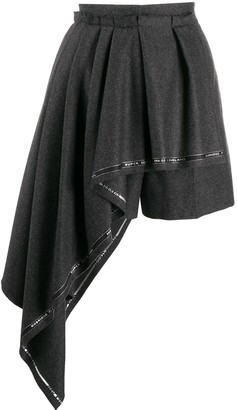 Alexander McQueen Pleated Drape Asymmetric Shorts