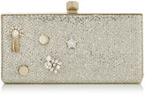 Jimmy Choo CELESTE/S Champagne Glitter Fabric Clutch Bag with Crystal Jewel Buttons and Metal Studs