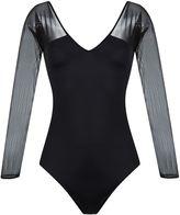 BRIGITTE v-neck tulle panel body - women - Polyamide/Spandex/Elastane - M
