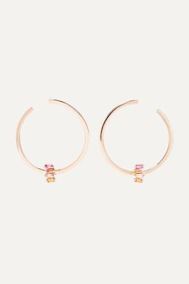 Suzanne Kalan 18-karat Rose Gold Sapphire Hoop Earrings