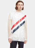 Thom Browne Men's Diagonal Striped Tape Technical Packable Jacket In Clear